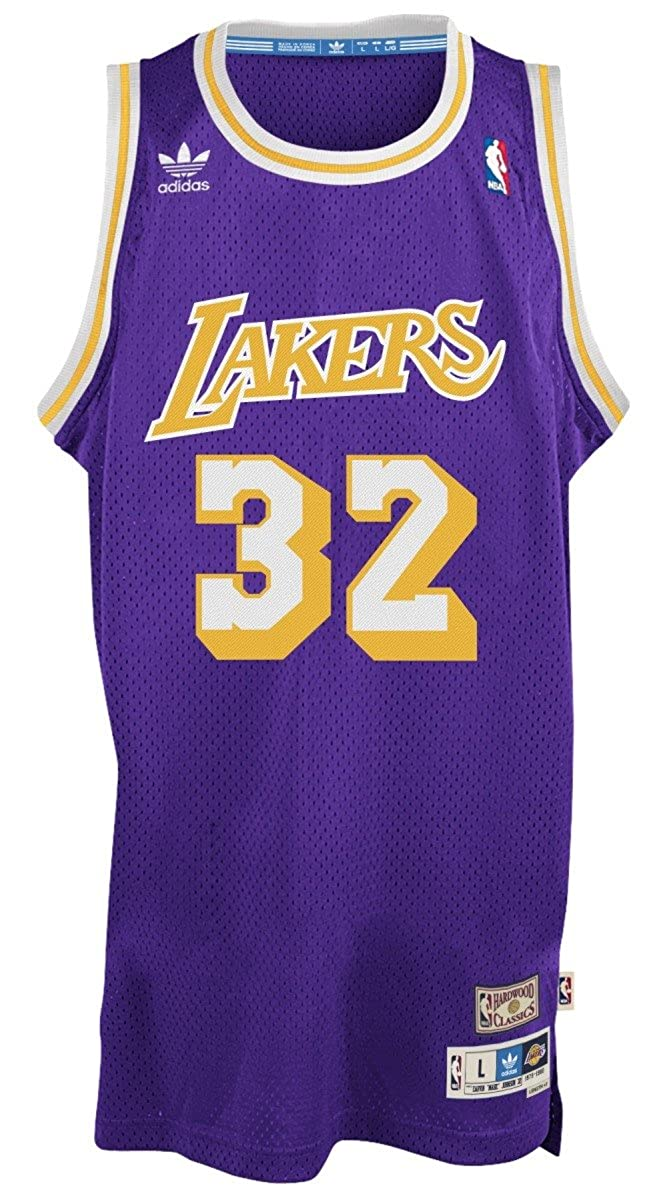f26778d38e0 Magic Johnson Los Angeles Lakers Adidas NBA Throwback Swingman Jersey -  Purple: Amazon.co.uk: Clothing