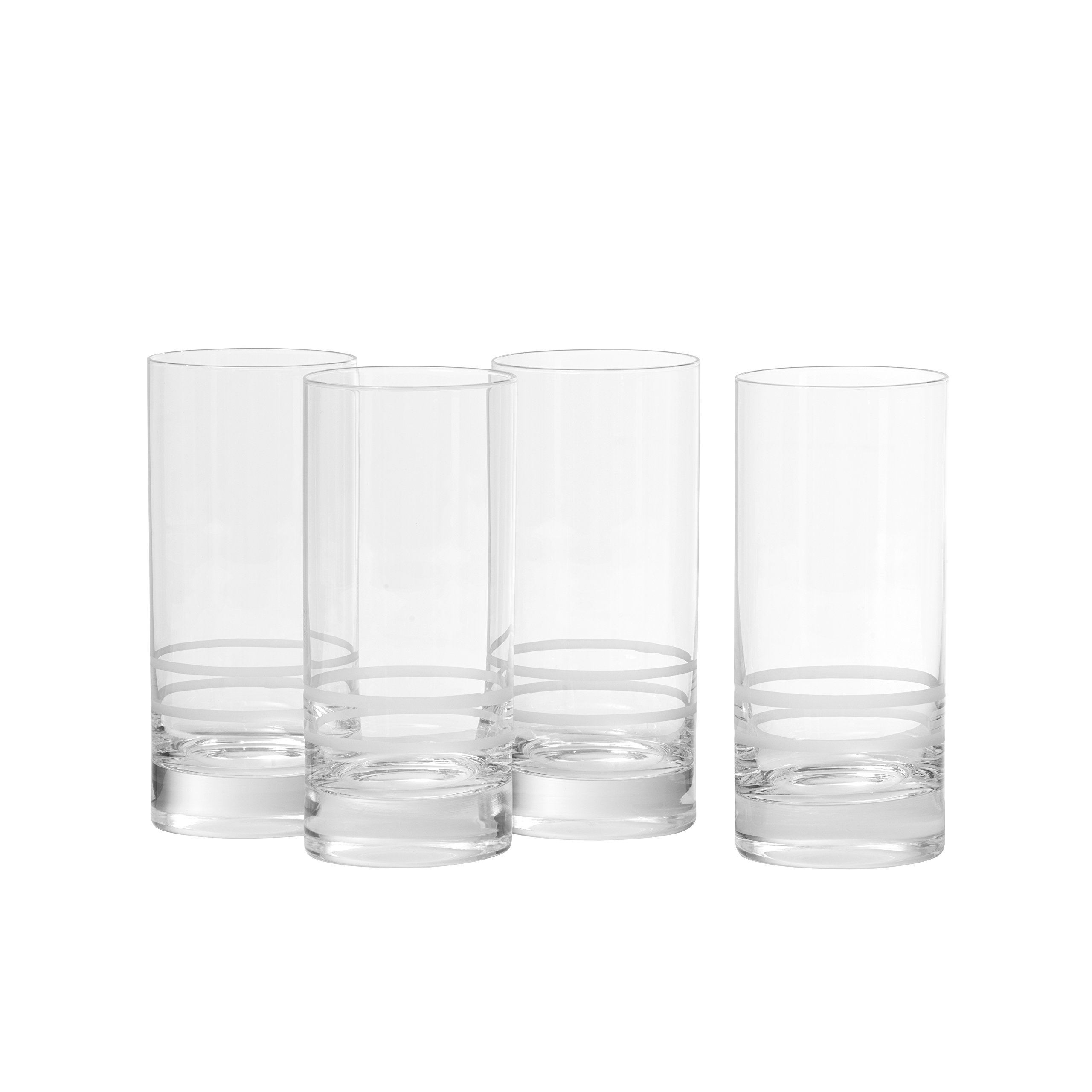 Crafthouse by Fortessa Professional Barware by Charles Joly, Etched Schott Zwiesel Tritan 16.2 oz Iced Beverage, Longdrink, Collins Barware/Cocktail Glass, Set of 4