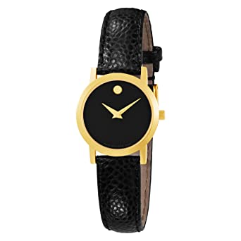 2a8e1895f Image Unavailable. Image not available for. Color: Movado Women's 606088  Museum Black Genuine Leather Strap Watch