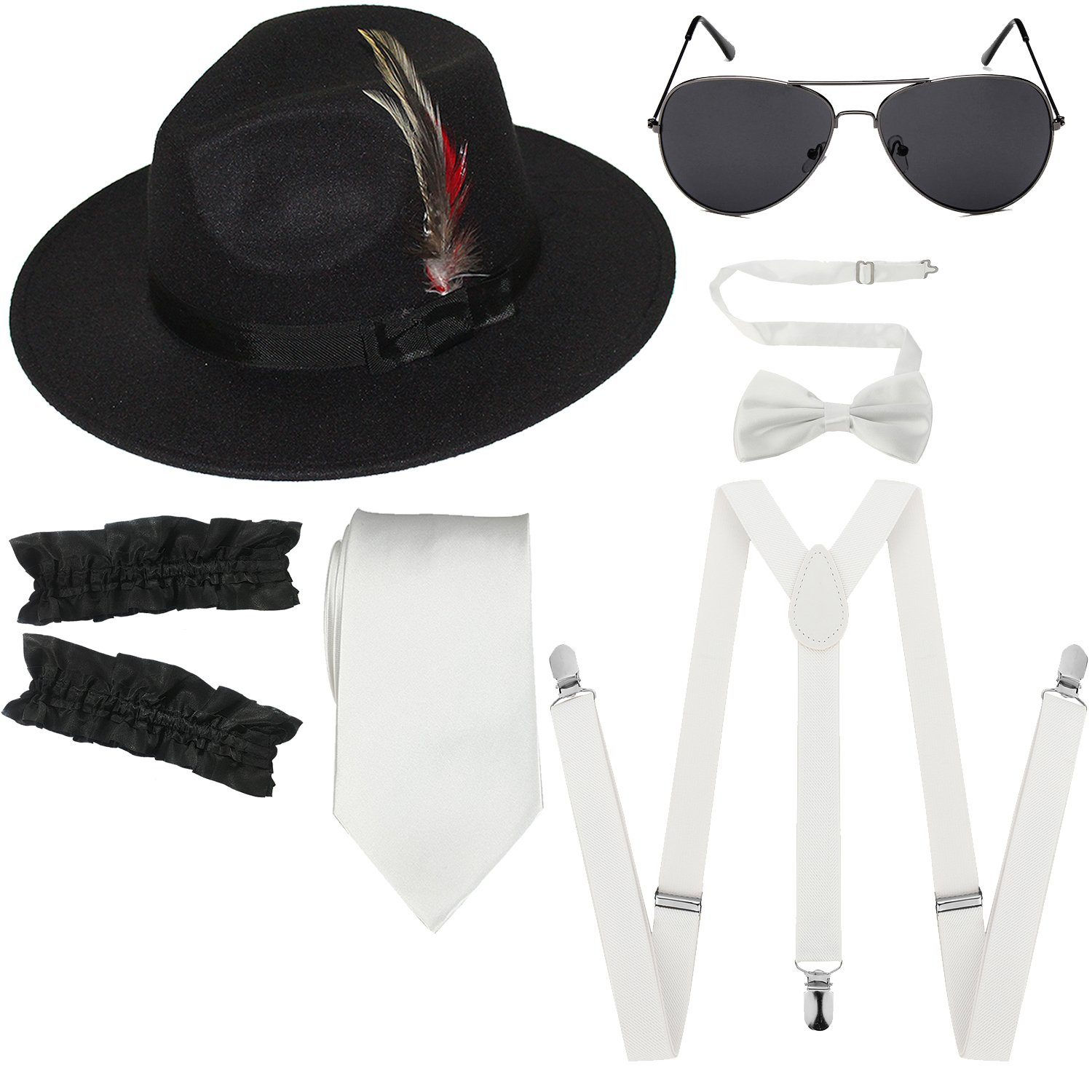 1920s Mens Manhattan Trilby Fedora Hat, Garters Armbands,Y-Back Suspenders & Pre Tied Bowtie, Gangster Sunglass (White)