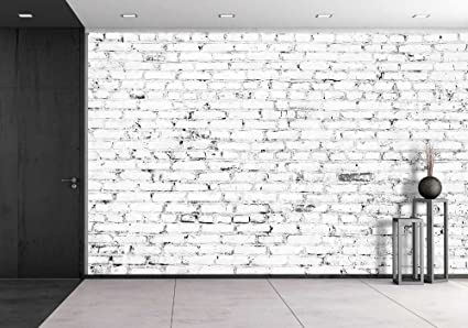 wall26 Old Brick Wall with White Bricks Removable Wall Mural