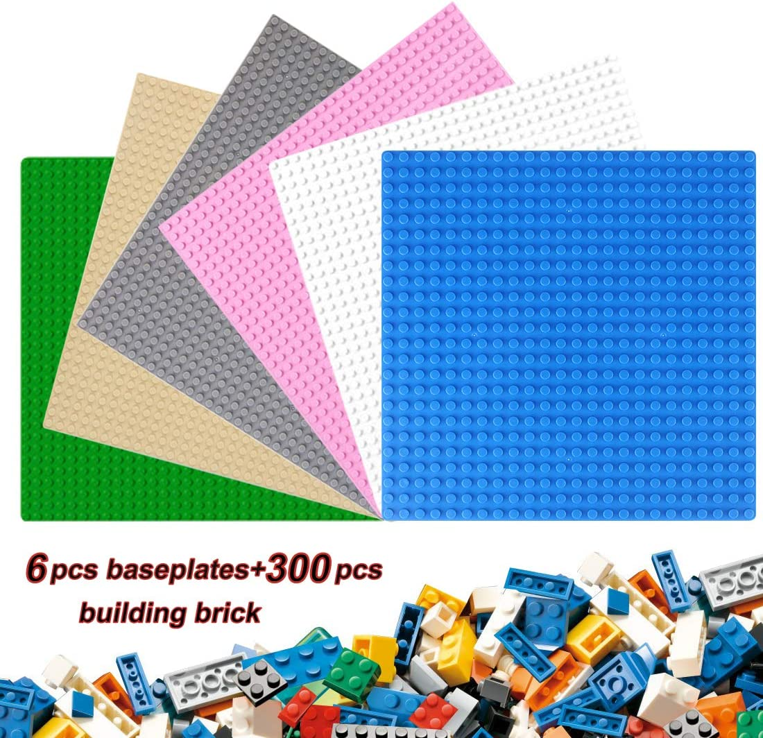 """WTOR Classic Baseplates Building Base Plates with 300Pcs Classic Bricks 100% Compatible with All Major Building Bricks Brands 10"""" x 10"""" (6 Pack), Building Base Accessory for Kids and Adults"""