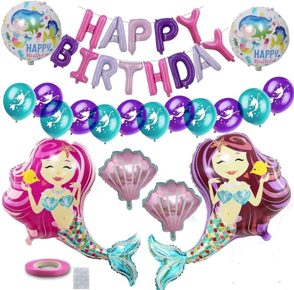 Mermaid Party Supplies,33 PCS Mermaid Birthday Balloons Decorations Pack,Under The Sea Party Decor Kit for Girls Women Baby Shower