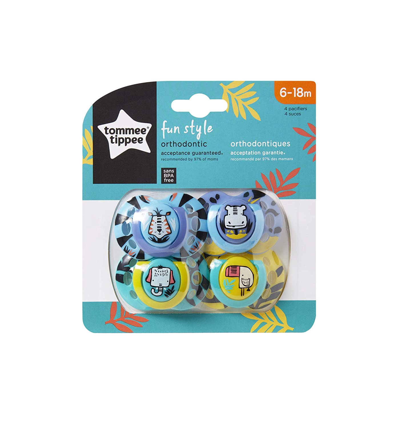 Tommee Tippee Closer to Nature Fun Style Baby Pacifier, 6-18m - 4 Count, Multi-Colored