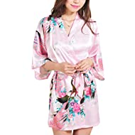 Women Short Kimono Robes Bridesmaid Peacock and Blossoms Stain Silk Nightwear