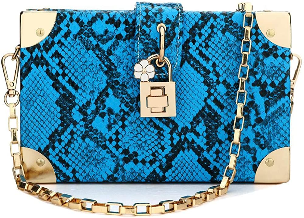 Ladies Fashion Elegant Chain Strap Small Shoulder Bag Party Evening Handbag Blue