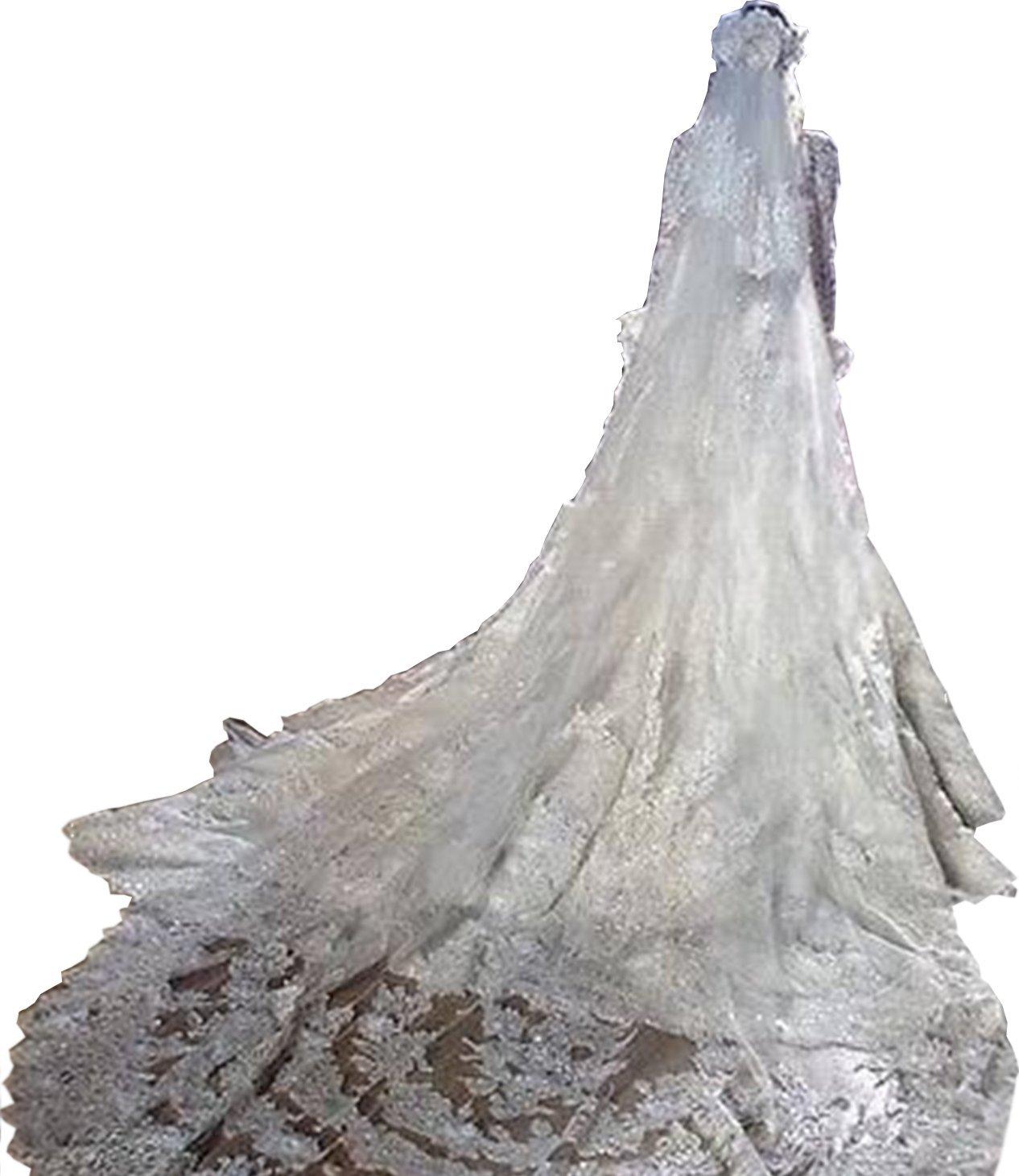 Newdeve Women White 3.5M 2T Bridal Veils with Rhinestones (Ivory)