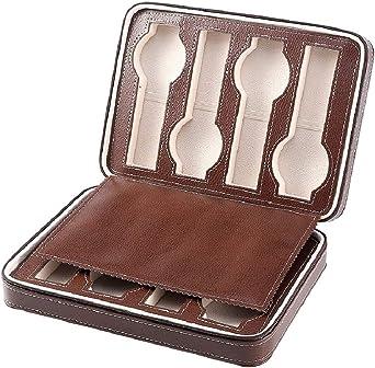 Caja de almacenamiento de relojes de cuero joyería para hombre y mujer, color marrón: Amazon.es: Relojes