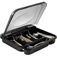 Zilpoo Flatware Plastic Tray with Hinged Lid, Kitchen Cutlery and Utensil Holder Organizer, 5 Compartment Silverware…