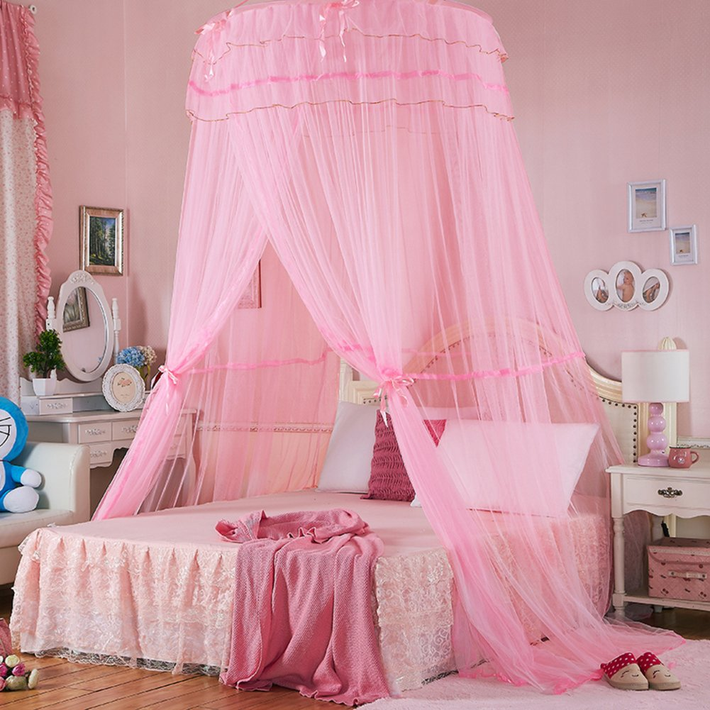 DE&QW Dome single door ceiling mosquito net bed canopy, Princess Palace 1.5 1.8m mosquito curtain-pink King
