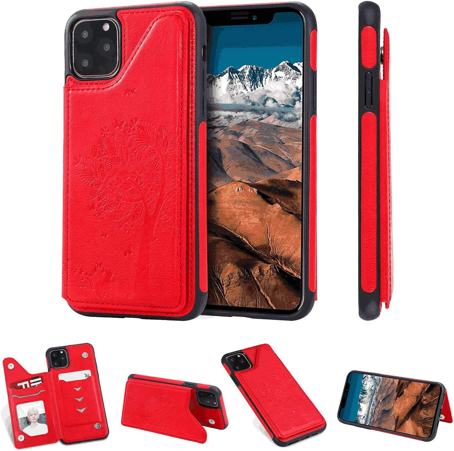 Cover for Leather Extra-Shockproof Business Kickstand Cell Phone Cover Card Holders Flip Cover iPhone XR Flip Case