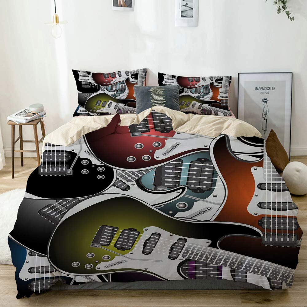 YOLIKA Pila de Guitarras eléctricas Coloridas gráficas Instrumentos de Cuerda de música Rock Microfibra Funda de Nórdico y Fundas de Almohada (Cama 200 x 200cm + Almohada 63X63cm)
