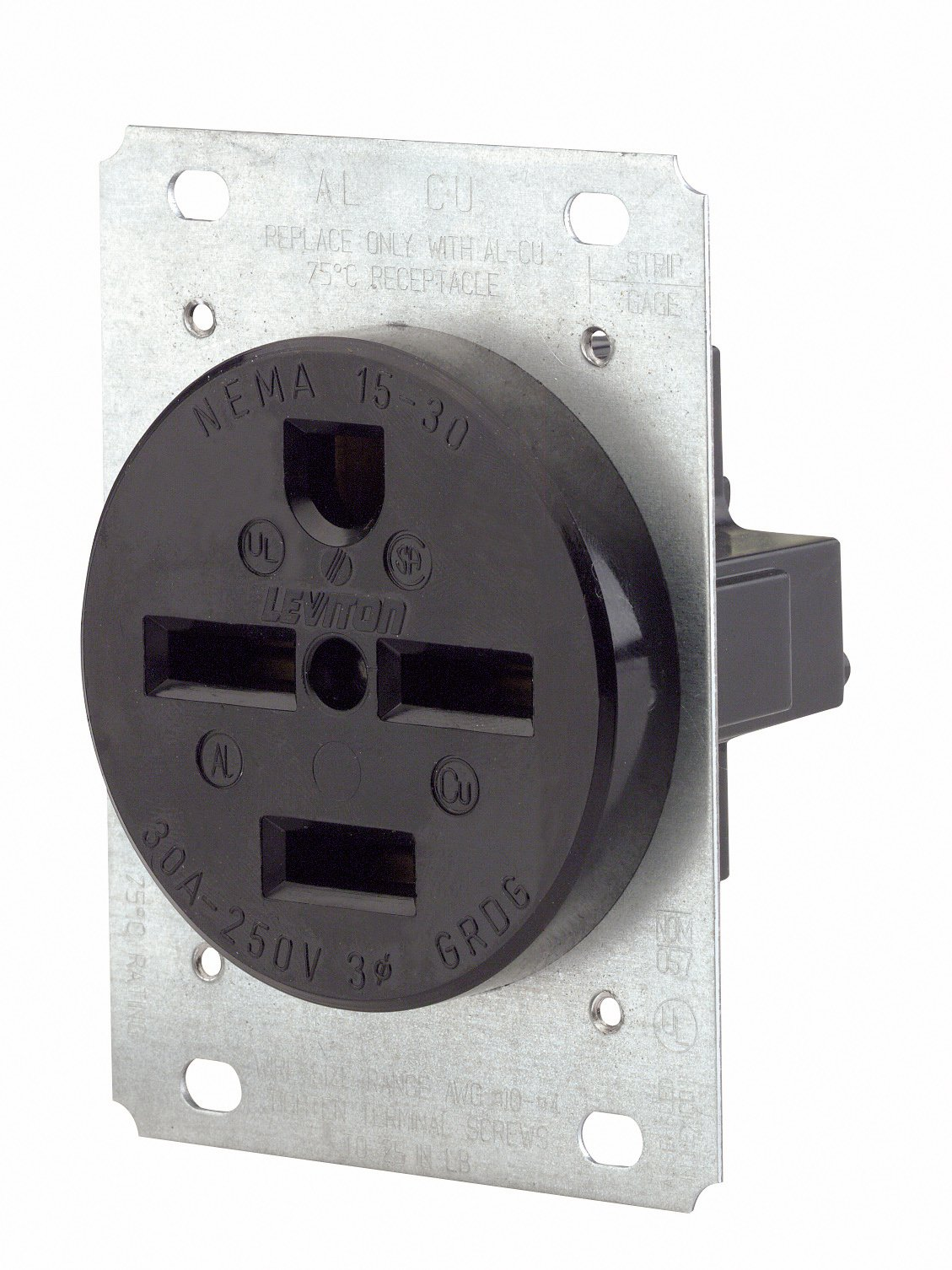 Leviton 8430 30 Amp, 250 Volt, Flush Mounting Receptacle, Industrial Grade, Straight Blade, Grounding, Black