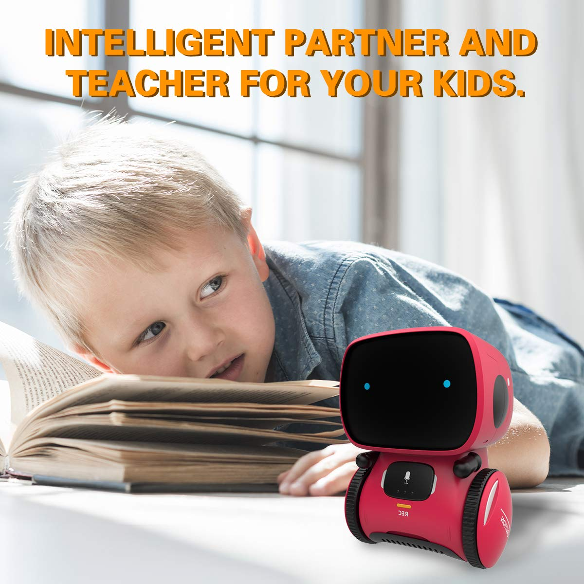 98K Kids Robot Toy, Smart Talking Robots, Gift for Boys and Girls Age 3+, Intelligent Partner and Teacher, with Voice Controlled and Touch Sensor, Singing, Dancing, Repeating by 98K (Image #7)