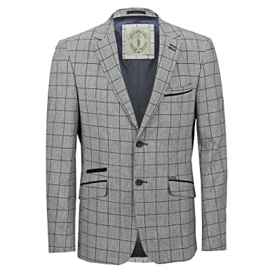0180d1018 Mens Designer Slim Fit Jacket Windowpane Grey Blue Check Casual ...