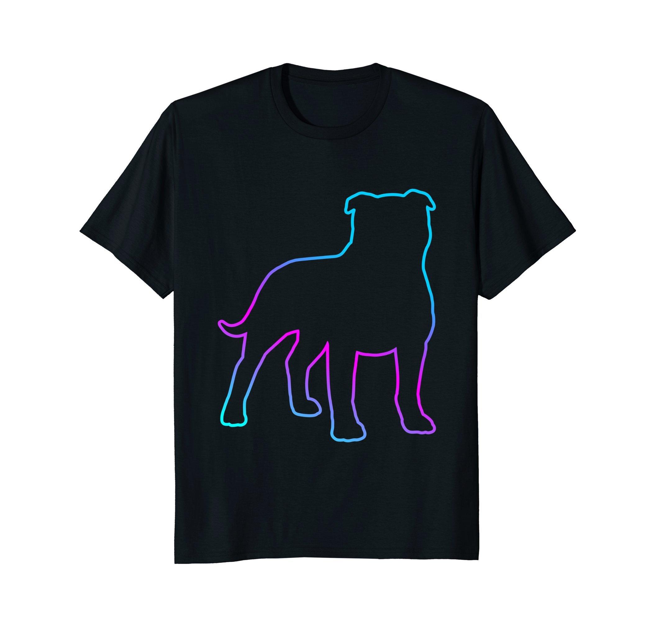 80s Retro Neon Sign Pit Bull Dog T-Shirt