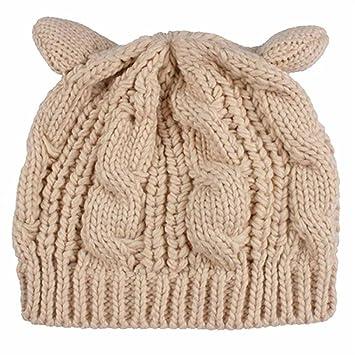 Kfnire Gorros, Sombrero de oído de Gato - Las Mujeres de cáñamo Caliente Orejas Flores de cáñamo Sombrero de Punto