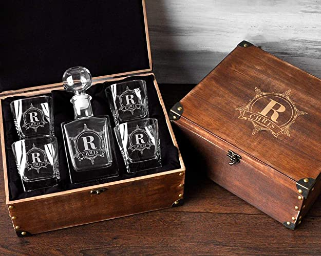 Personalized Decanter Set With Wood Box Whiskey Groomsmen Gifts For Wedding Engraved Mens Birthday Gift