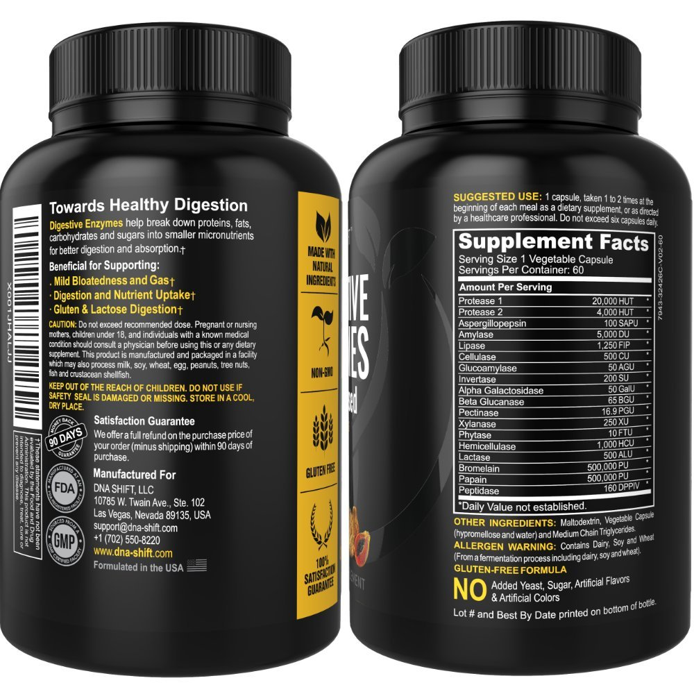 Digestive Enzymes 18-in-1 Natural proteolytic Enzyme Supplements with protease amylase & lipase - Gluten and Lactose Digestion - Best for Bloating ...