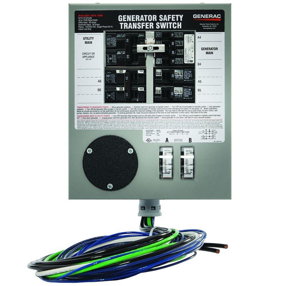 Generac 6376 30 Amp 6 10 Circuit Indoor Manual Transfer Wiring A Generator Portable Power Supply Cord For My Switch Maximum 7 500 Watt Generators Garden Outdoor