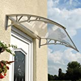 Grey Door Canopy Transparent Polycarbonate Rain Cover Awning Porch Shelter