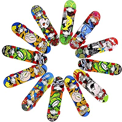 Headytidy 12 PCs Professional Finger Skateboard Toy Mini Fingerboards with Pattern On Both Sides, Creative Fingertips Movement Party Favors Novelty Toys for Adults and Children: Home & Kitchen [5Bkhe0304365]