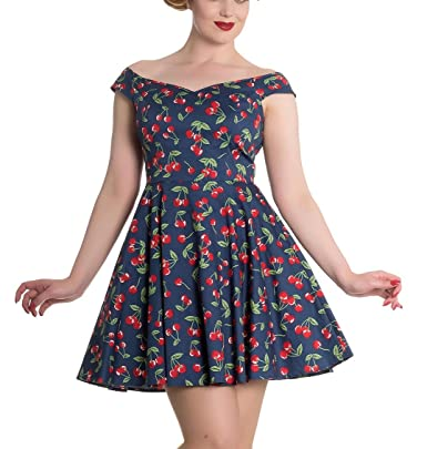 ac2b466e62d5 Hell Bunny 50s Rockabilly Retro Pin up Mini Dress April Cherry Blue 4XL 22