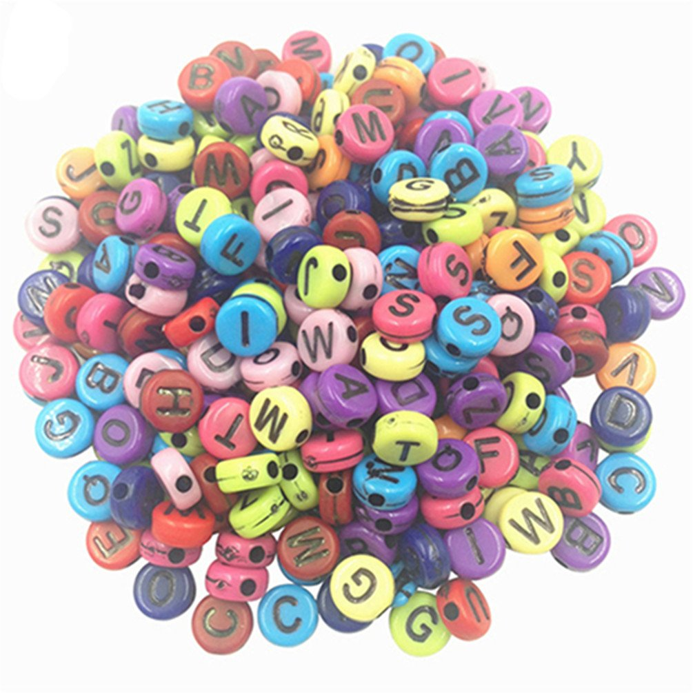 100X Random Color Letters Alphabet Acrylic Loose Spacer Beads DIY Jewelry Making