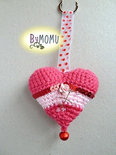 Llavero CORAZÓN Crochet-Rosa con Rosa: Amazon.es: Handmade