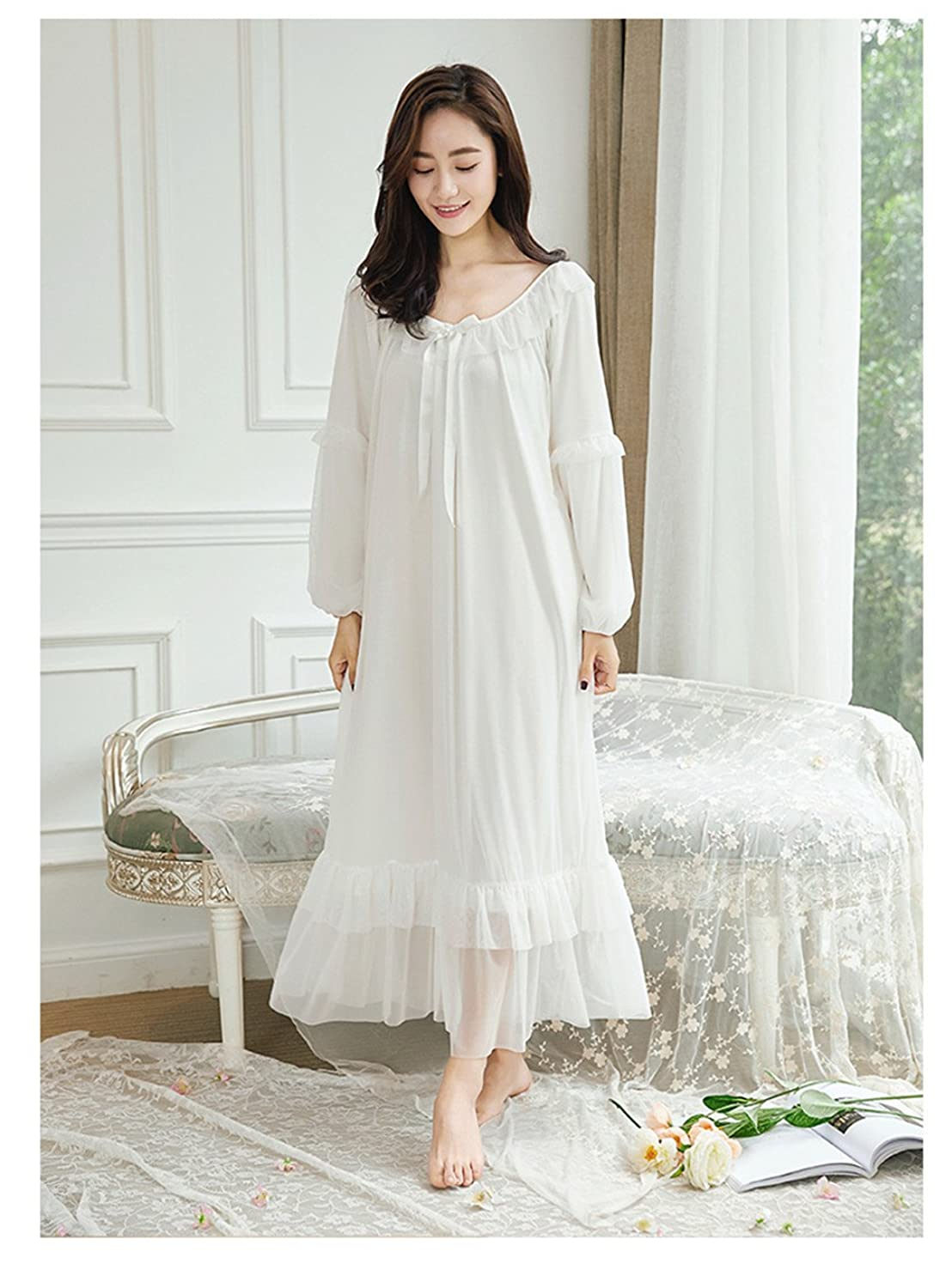 Vintage Inspired Nightgowns, Robes, Pajamas, Baby Dolls Asherbaby Womens Long Sleeve Vintage Nightgown Victorian Sleepwear Lounge Dress $35.99 AT vintagedancer.com