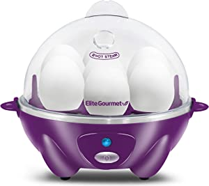 Elite Gourmet EGC007P Easy Electric 7 Egg Capacity Cooker, Poacher, Omelet Maker, Scrambled, Soft, Medium, Hard Boiled with Auto Shut-Off and Buzzer, BPA Free, Purple