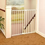 Tall Easy Swing and Lock Gate  by North States: Ideal for wider stairways, swings to self-lock. When tall barrier needed. Hardware Mount. Fits opening 28.68  to 47.85  wide (36  tall, Soft White)