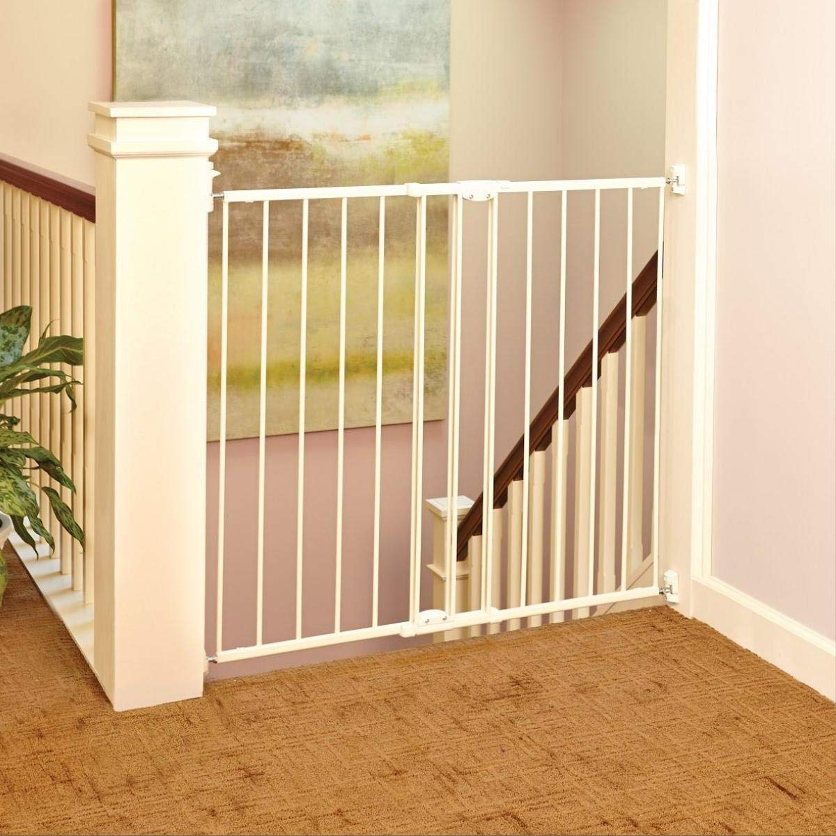 ''Tall Easy Swing and Lock Gate'' by North States: Ideal for wider stairways, swings to self-lock. When tall barrier needed. Hardware Mount. Fits opening 28.68'' to 47.85'' wide (36'' tall, Soft White)