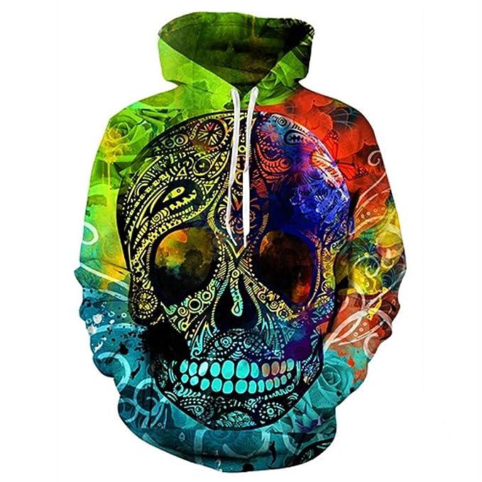 3D Sudaderas con Estampado de Calaveras Coloridos Jerseys Flores Sudaderas con Capucha Hombres Sudaderas Hip Hop Tops: Amazon.es: Ropa y accesorios