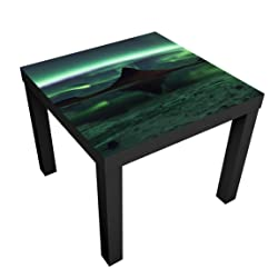 Bilderwelten Design Table - Aurora In Iceland - Table 55x55x45cm coffee table side end table, Table Colour: Table Black, Dimensions: 55 x 55 x 45cm