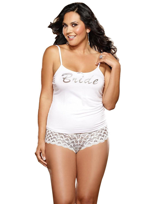Dreamgirl 9362X Womens Plus Size First Kiss Bridal Tank And Panty White 1X//2X