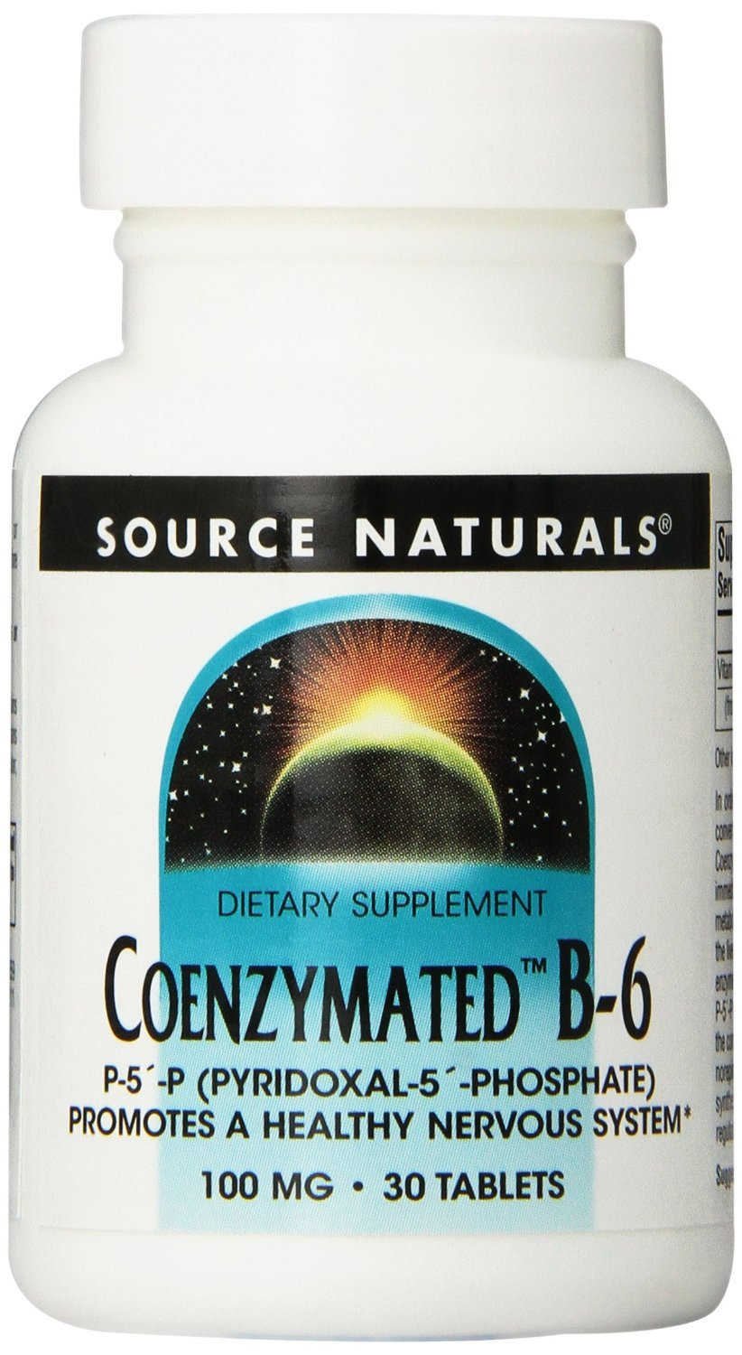 Coenzymated B-6, 100 mg, 30 Tabs by Source Naturals (Pack of 6)