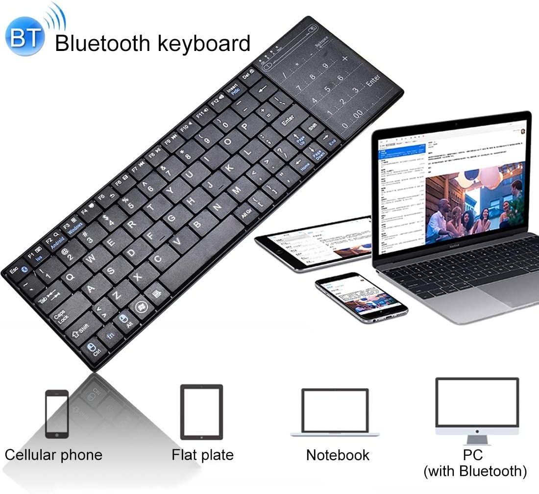 Color : Black New Bluetooth Black Wireless Mouse Keyboard Standard Layout Keyboard K-07 ABS Wireless Chargeable Bluetooth Touch Keyboard