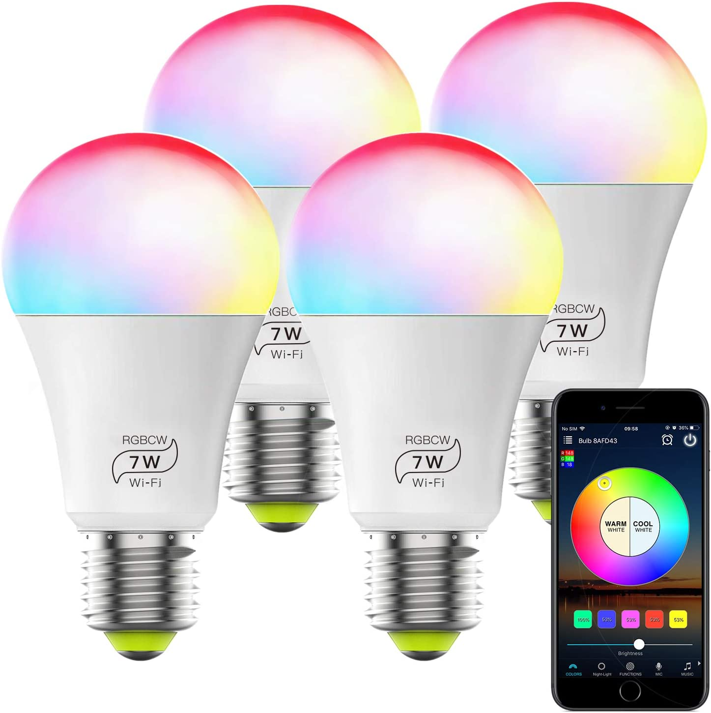 WiFi Light Bulb No Hub Required, A19 E26 7W (60w Equivalent) RGBCW Magic Hue Smart LED Lights, Works with Alexa Google Home and Siri (4 Pack)
