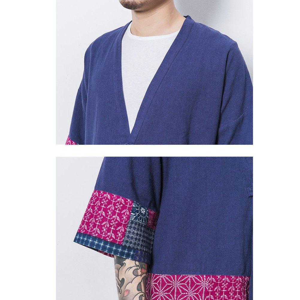 Zhhlaixing Kimono japon/és Hombre Robe Coat Manga 3//4 Mens Vintage Cloak Cotton Linen Blends Loose fit Short Coat Jacket Cardigan