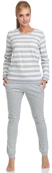 Cornette Pijamas Dos Piezas para Mujer Molly (Blanco/Melange, S)