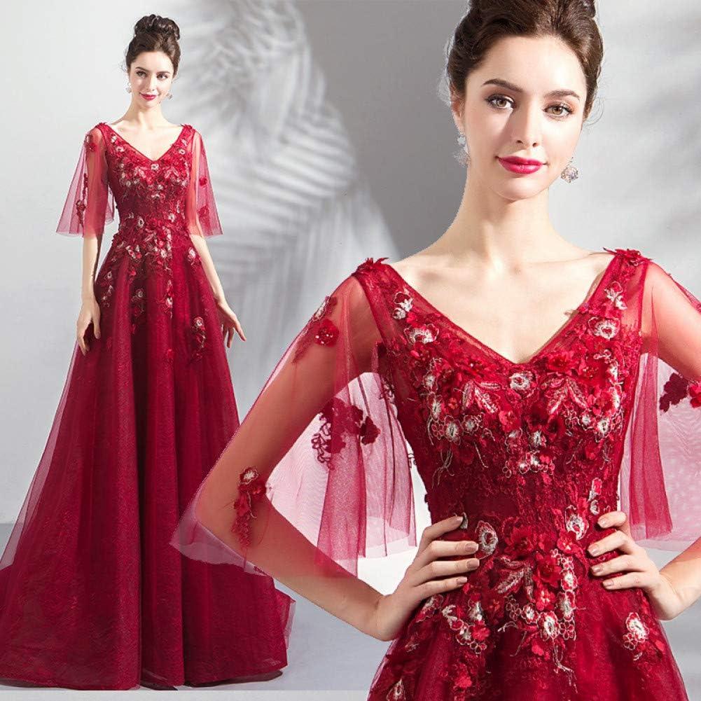 BINGQZ Party Abito, Vestito da Damigella, Dresses Donna, Abito da Sera da Donna Rosso Scollo a V Profondo L