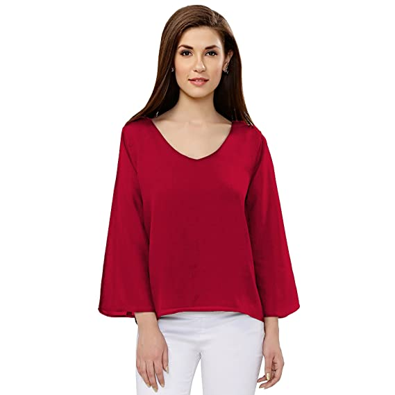 58bfccae0d9cbf Serein Women s Georgette Tops (Wine Double Lined Flute Sleeves Blouse)  (X-Small