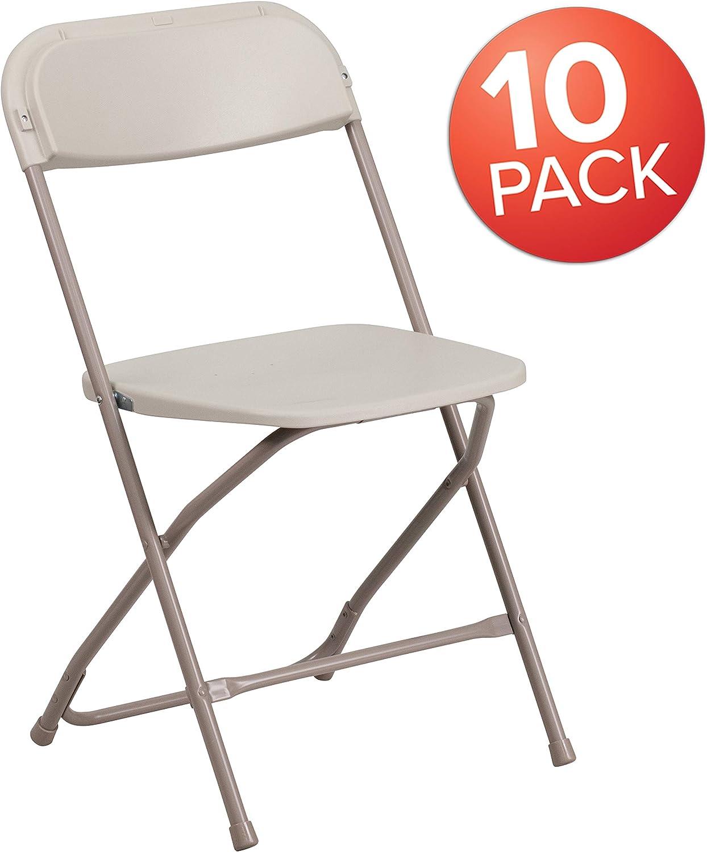 Flash Furniture 10 Pk. HERCULES Series 650 lb. Capacity Premium Beige Plastic Folding Chair