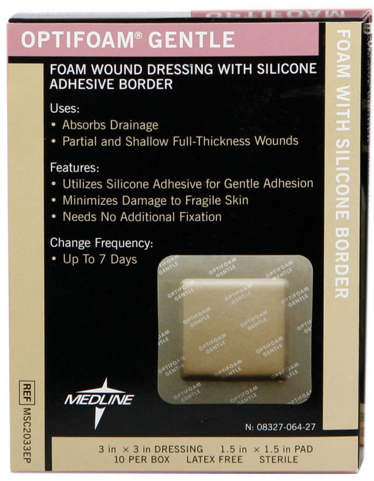Medline MSC2033EPZ Optifoam Gentle Border Adhesive Dressings, 3'' x 3'' (Pack of 10)