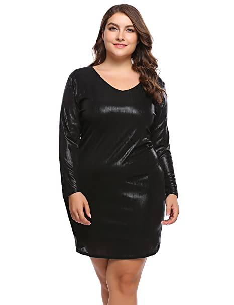Womens Plus Size Glitter Dress Bodycon Sequin Party Dress Long Sleeve V-Neck  Club Evening 2b17063966a4