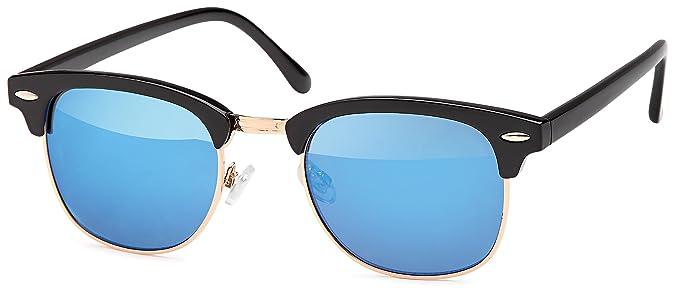 Vintage Sonnenbrille im angesagten 60er Browline-Style mit markantem Halbrahmen in Schwarz, auch für schmalerer Gesichter und Kopfformen, Brillentrends (schwarz-blau)
