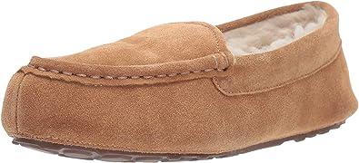 Leather Moccasin Slipper, Chestnut