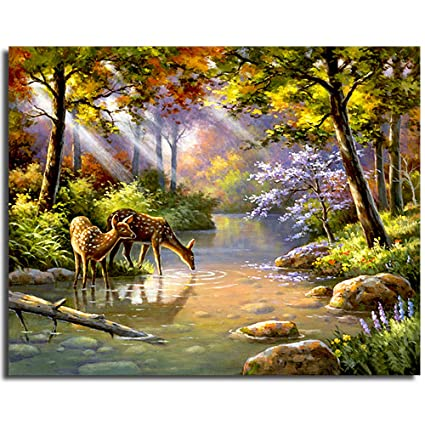 1 Pack Frameless Diy Oil Painting Paint By Number Green Jungle Pattern Wall Art Picture For Kids And Adults 16 X 20 Inches