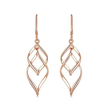 e1b105797 Amazon.com: DESIMTION Rose Gold Plated Classic Twist Wave Earrings,  Sterling Silver Post Dangle Earrings for Women (Rose): Jewelry